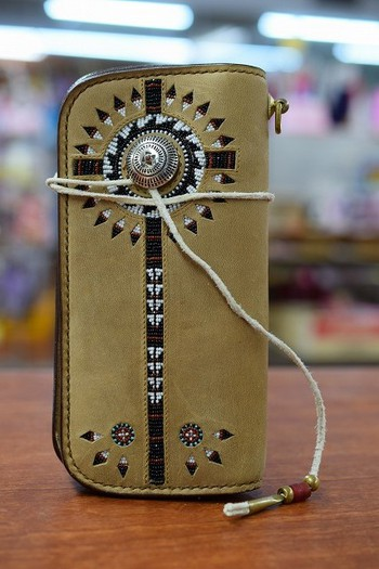 Buffalo Tracks Beaded Wallet with a concho