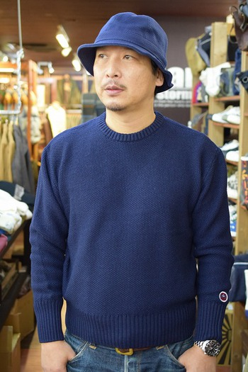SAMURAI Jeans Indigo Crew Neck Sweater & Hat