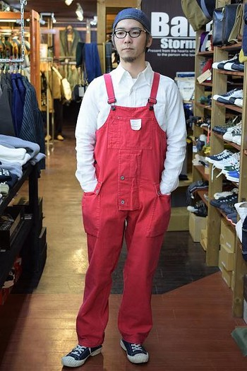 Nigel Cabourn Naval Dungaree – Sun bleach red –