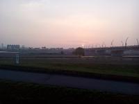 陽が昇る夏時期と冬時期~静岡大橋